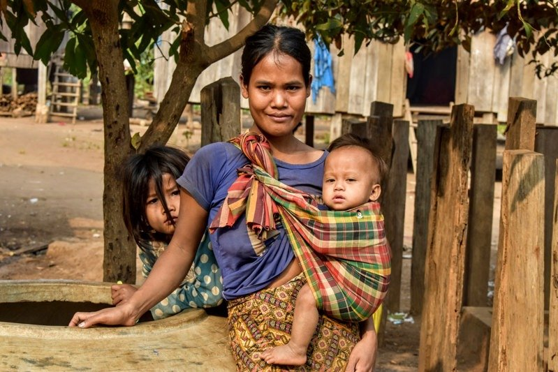 Cambodian family in rural community