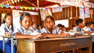 Girls at school in Cambodia